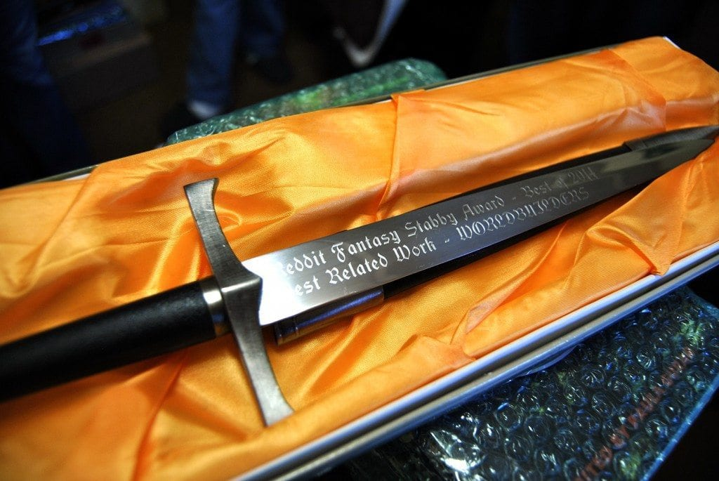 The 2014 Best Related Work Stabby pictured above was awarded to the WORLDBUILDERS charity